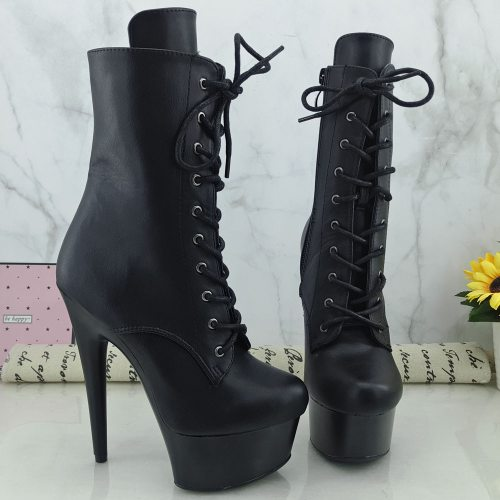 Leecabe Black PU Upper 15CM/6Inch Women's Platform party High Heels Shoes Pole Dance shoes
