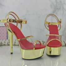 Leecabe 15CM/6Inch Shinny Golden Women's Platform Sandals  party High Heels Shoes Pole Dancing Shoes