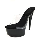 Leecabe 6inch Shinny black Women's Platform Sandals Pole Dancing boots 6 Inch High Heels Shoes stillelto high heel