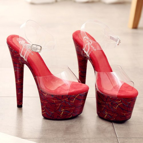 Leecabe sexy stiletto PVC upper high heel pink plating platform jelly shoe sexy lady pole dancing sandals ladies shoes
