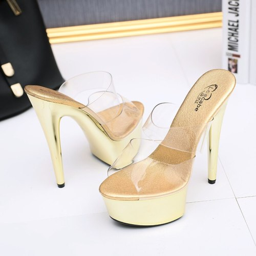 Leecabe Transparent Platform Shoes Sexy Dance Shoes 15 CM High Heels Sandals Night Club Women Pole Dancing sandal Shoes