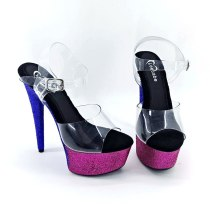 Leecabe New Blue & Hot pink Glitter Heels 15cm fancy pole dance sandals lady shoe high heel platform pole dance shoes