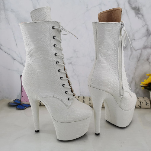 Leecabe White Snake 17CM/7inches Pole dancing shoes High Heel platform Boots Pole Dance boot