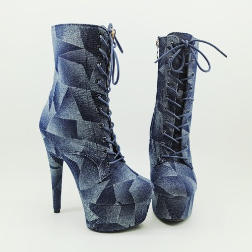 Leecabe Denim materials 15CM/6inches Pole dancing shoes High Heel platform Boots closed toe Pole Dance boots