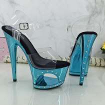 Leecabe  17 cm shiny Rhinstone platform sandals sexy nightclub pole dancing shoes