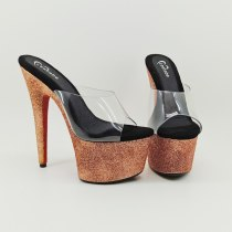 Leecabe New designs 17cm yellow glitter Heels fancy pole dance sandals lady shoe high heel platform pole danceshoes