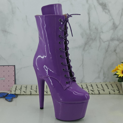 Leecabe Patent Purple 7inch/17CM heels' Pole dancing boot High Heel closed toe Pole Dance boots