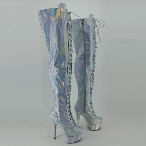 Leecabe 15cm/6inch Pole dancing sexy over knee-high boots with holo color sexy dancer pole dancing  boot
