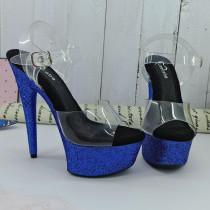 Leecabe 15CM/6Inch Blue Glitter  Women's Platform Sandals  party High Heels Shoes Pole Dance Shoes