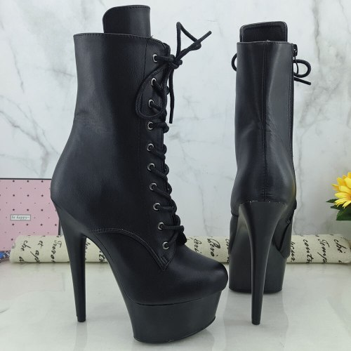 Leecabe Black PU Upper 15CM/6Inch Women's Platform party High Heels Shoes Pole Dance shoes