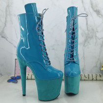Leecabe Blue Suede platform with light blue patent upper 20CM Pole Dance boot