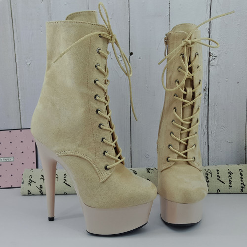 Leecabe 15CM/6Inches Beige Painting platform with Beige suede upper High Heel platform Boots Closed toe  Pole Dance boot