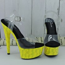 Leecabe Yellow materials Covered 15CM/6Inch Women's Platform Sandals  party High Heels Shoes Pole Dancing Shoes