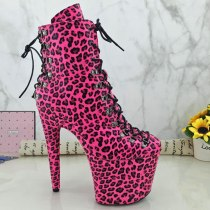 Leecabe Leopard PU upper 20CM  high heel exotic platform Pole Dance boots