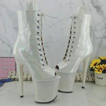 Leecabe White Snake 20CM/8inches Pole dancing shoes High Heel platform boot Pole Dance shoes