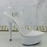 Leecabe 15CM/6Inch White Platform lady party High Heels Shoes Pole Dance Shoes