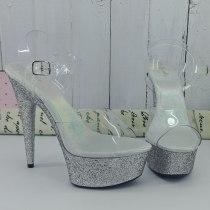 Leecabe 15CM/6Inch Glitter  Women's Platform Sandals  party High Heels Shoes Pole Dancing Shoes