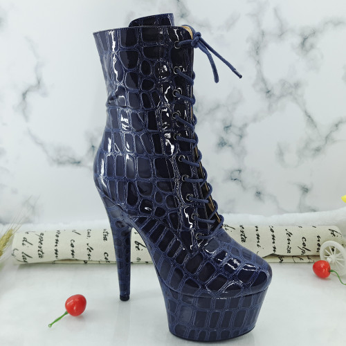 Leecabe Newest 17CM/7inches Pole dance boot with denim High Heel platform Boots closed toe  Pole Dance boot