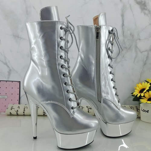 Leecabe Shinny Silver PU Upper 15CM/6Inch Women's Platform party High Heels Shoes Pole Dance shoes