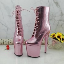 Leecabe Newest 20CM/8inches Pole dance boot with pink PU covered High Heel platform Boots open toe  Pole Dancing boot