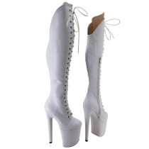 Leecabe White PU UPPER 20CM/8Inch Women's Platform disco party High Heels Shoes Pole Dance boot