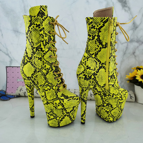 Leecabe Green Snake 17CM/7inches Pole dancing shoes High Heel platform Boots Pole Dance boot