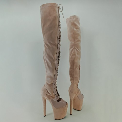Leecabe Beige Suede 20CM Pole dancing shoes High Heel platform Boots Pole Dance boots