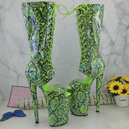 Leecabe Green Snake PU 23CM/9inches Pole dancing platform Pole Dance boots