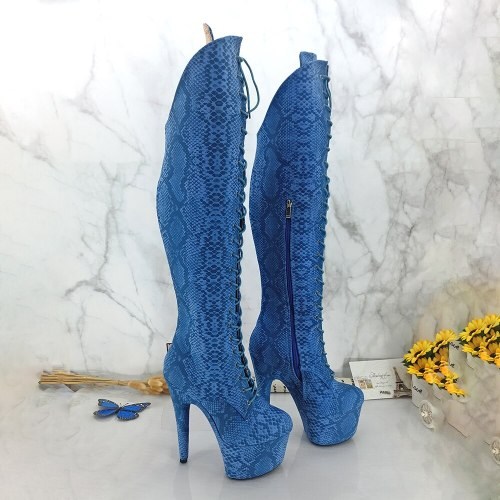 Leecabe Blue Snake PU 17CM/7inches Pole dancing shoes High Heel platform Pole Dance boot