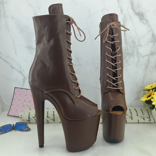 Leecabe Brown PU 20CM/8inches Pole dancing platform Pole Dance boots