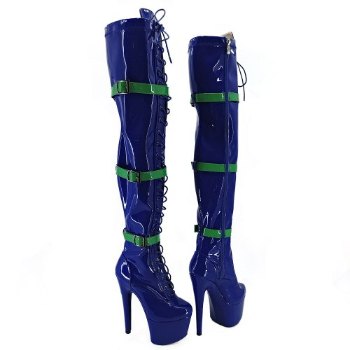 Leecabe Blue PU 17CM/7inches Pole dancing shoes High Heel platform Pole Dance boot
