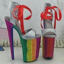 Leecabe 9inches Rainbow Platform Shoes Sexy Dance Shoes 23 CM High Heels Sandals Pole Dance shoes