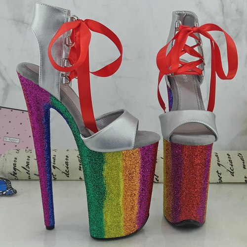 Leecabe 9inches Rainbow Platform Shoes Sexy Dance Shoes 23 CM High Heels Sandals Pole Dance shoes