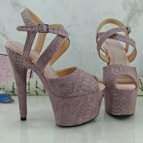 Leecabe 17CM/7Inch Women's Platform Sandals  party High Heels Shoes Pole Dancing Shoes