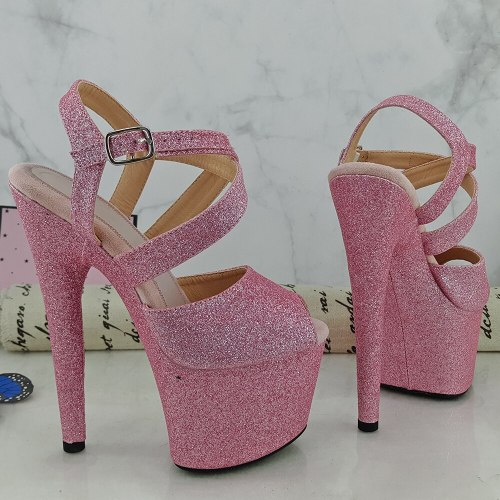 Leecabe Pink Glitter  20CM/8inches Pole dancing platform Open toe Pole Dance shoes