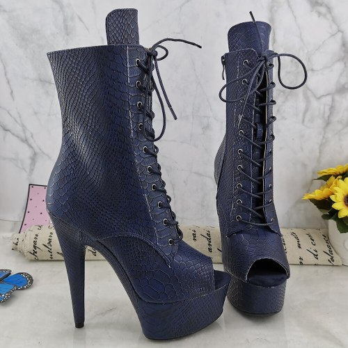 Leecabe NavyPU Upper 15CM/6Inch Women's Platform party High Heels Shoes Pole Dance boots