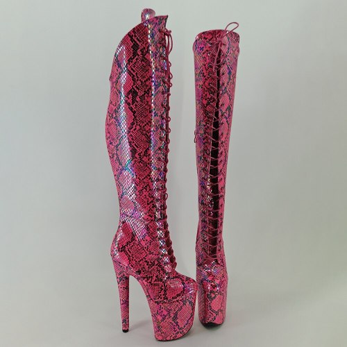 Leecabe Pink Snake 20CM Pole dancing shoes High Heel platform Boots Pole Dance boots