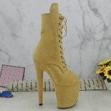 Leecabe Beige Suede PU 20CM/8inches Pole dancing platform Pole Dance boots