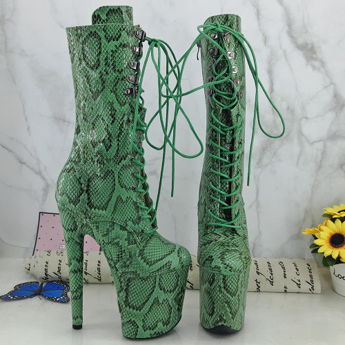 Leecabe Green UPPER 20CM/8Inch Women's Platform disco party High Heels Shoes Pole Dance boot