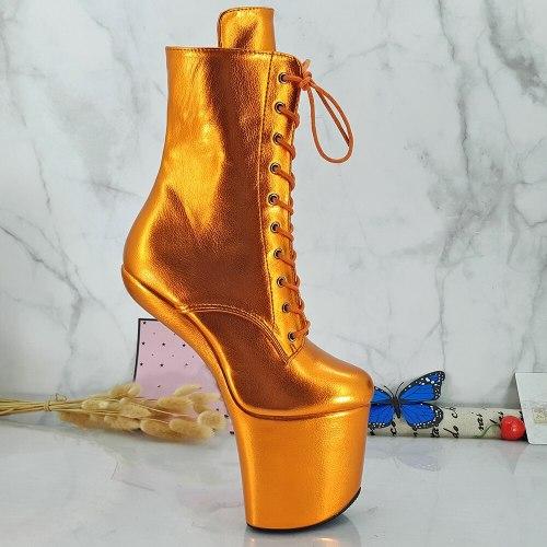Leecabe Shinny Yellow Heelless  High Heel Boots Lady Gaga Boots Unisex Boots Vamp BDSM Boots