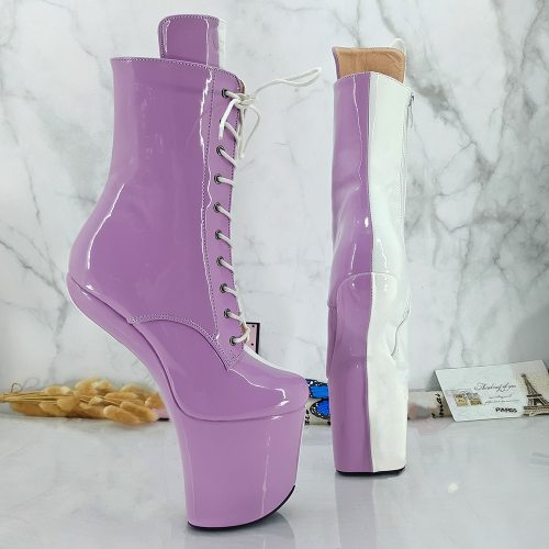 Leecabe Pink with White Upper Heelless Boots Lady Gaga Short Shoes Women Unisex Boots Vamp BDSM Boots