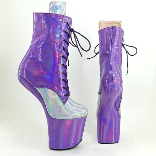 Leecabe Holo Purple with Silver Heelless  High Heel Boots Lady Gaga Boots Unisex Boots Vamp BDSM Boots