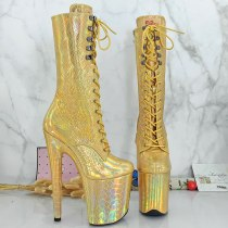 Leecabe  Shinny Golden holo 20CM/8inches High Heel platform Boots closed toe Pole Dance boots