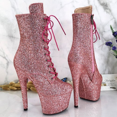 Leecabe Glitter Upper 7inch/17CM heels' Pole dancing shoes High Heel  Pole Dance shoes