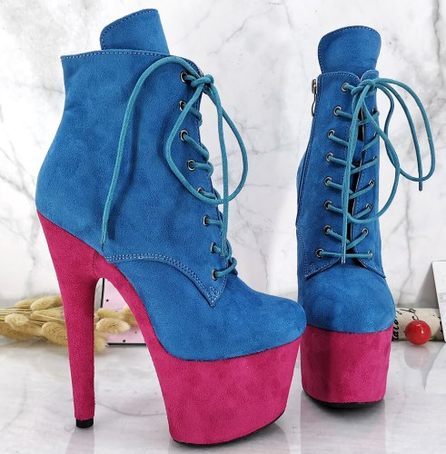 Leecabe Blue with Pink Platform Suede 17CM/7Inch party High Heels Shoes Pole Dance shoes