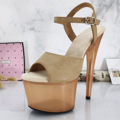 Leecabe Clear platform with Glitter Upper 17CM/7Inch party High Heels Shoes Pole Dancing Shoes