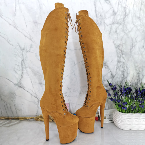 Leecabe 20CM Pole dancing shoes High Heel platform Boots closed Pole Dance hight boot with lace and zipper