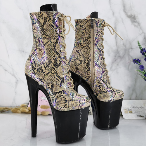 Leecabe Shinny Black Platform with Snake Upper 20CM/8inches exotic High Heel platform Closed toe Pole Dancing boots