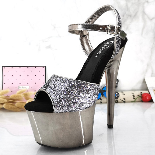 Leecabe Gun platform with Glitter Upper 17CM/7Inch party High Heels Shoes Pole Dancing Shoes