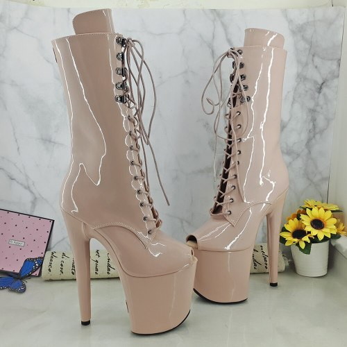 Leecabe Beige Patent 20CM/8Inch Women's Platform disco party High Heels Shoes Pole Dance boot